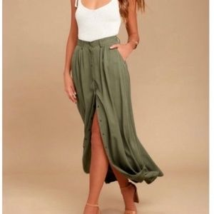 PISTOLA Olive Green Maxi Skirt with Front Buttons